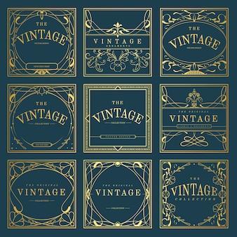青いベクトルにヴィンテージの金色のアールヌーボーバッジのセット
