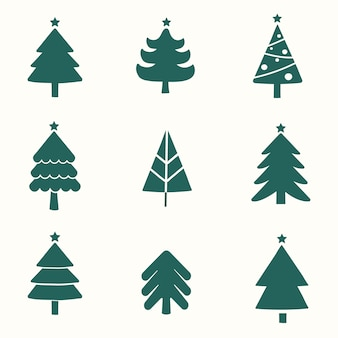 クリスマスツリーのデザイン要素ベクトルのセット