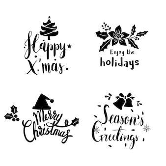 クリスマスの挨拶バッジベクトルのセット