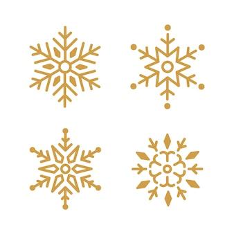 Набор снежинок рождественский дизайн вектор