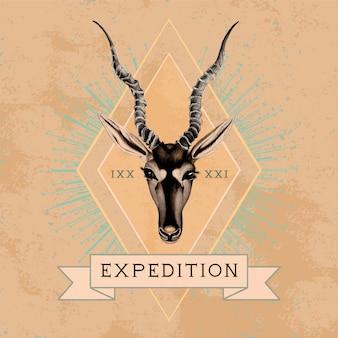 遠征旅行ロゴデザインベクトル