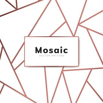 ローズゴールドとホワイトのモダンモザイク壁紙