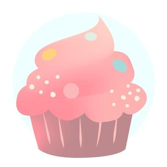 ピンククリーミーなカップケーキのデザインベクトル