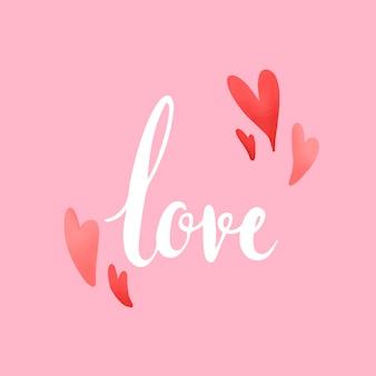心ベクトルで飾られた愛のタイポグラフィ