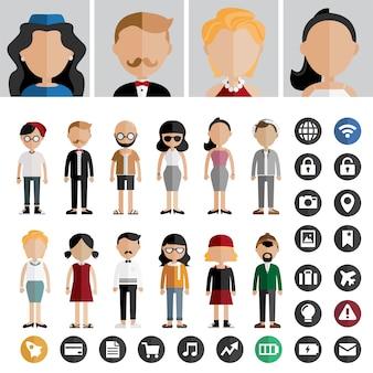 Люди стиль жизни современная концепция иконки