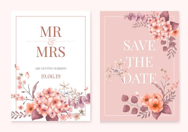 ピンクと花のテーマのグリーティングカード