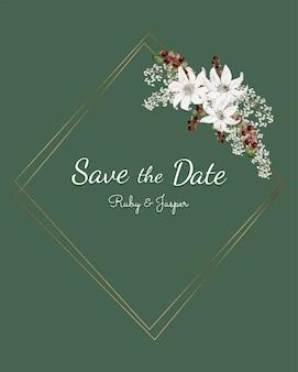 結婚式招待状モックアップベクターの日付を保存する