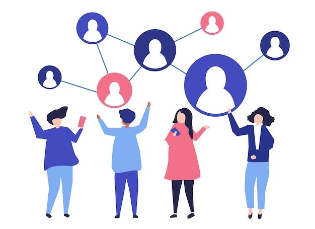 人々のキャラクターとその社会的ネットワークのイラスト