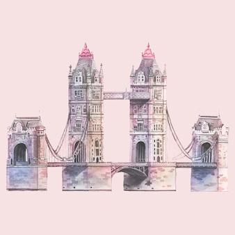 水彩で描かれたロンドンタワーブリッジ