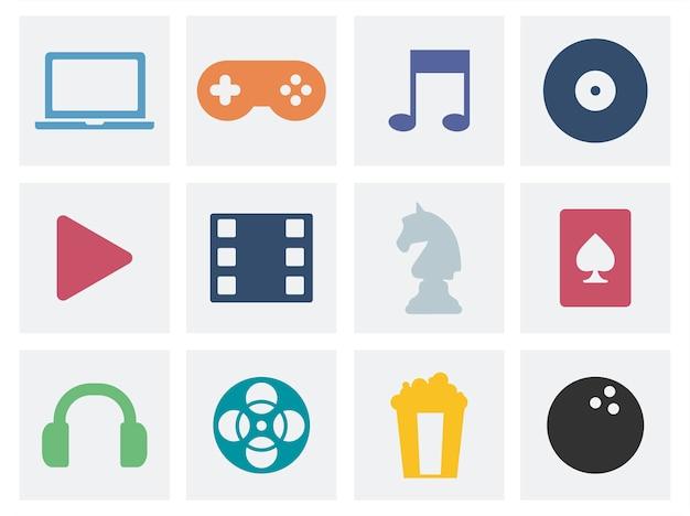 Концепция развлечения графические иконки