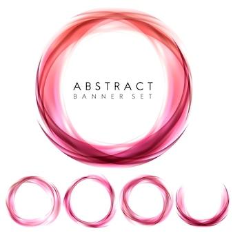 ピンクの抽象的なバナーセット
