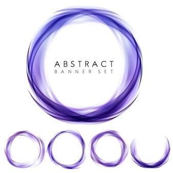 Абстрактный баннер набор в фиолетовый