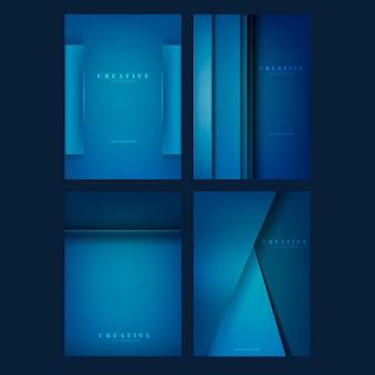 深い青色の創造的な背景デザインのセット