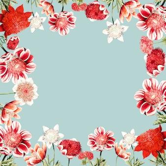 手描きの赤いアネモネの花のフレームデザインスペース