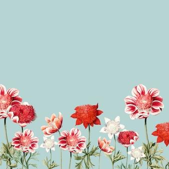 手描きの赤と白のアネモネの花のフレーム