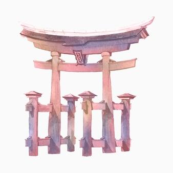 水彩で描かれた鳥居の門
