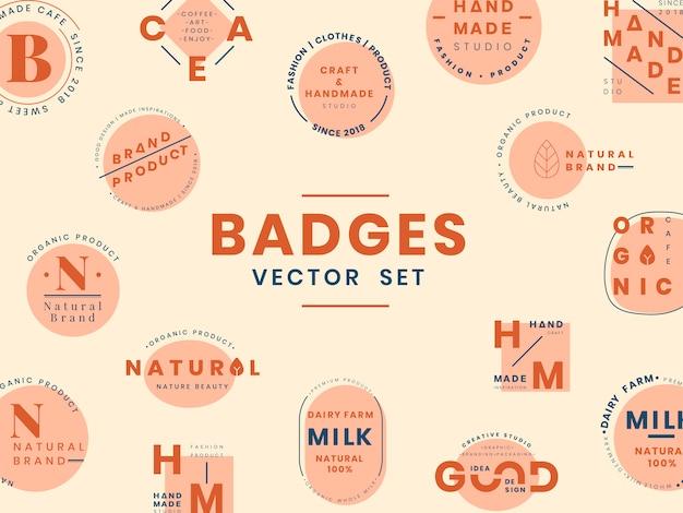 ロゴバッジデザインベクターのセット