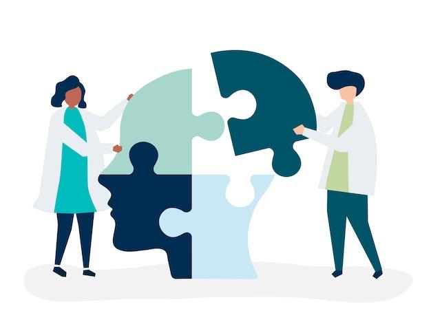 Люди, соединяющие кусочки головоломки вместе