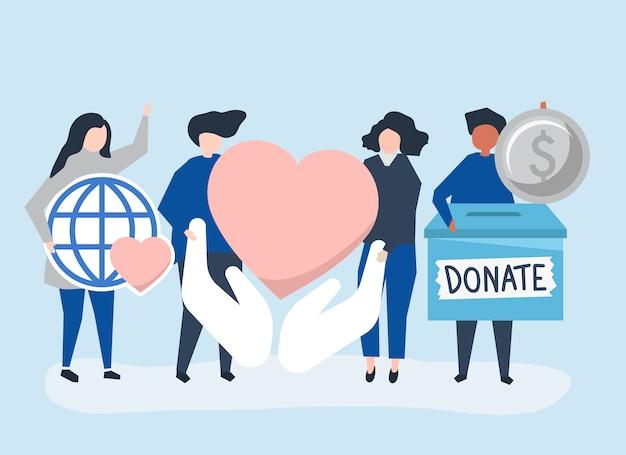 寄付や慈善関連のアイコンを運ぶ人々