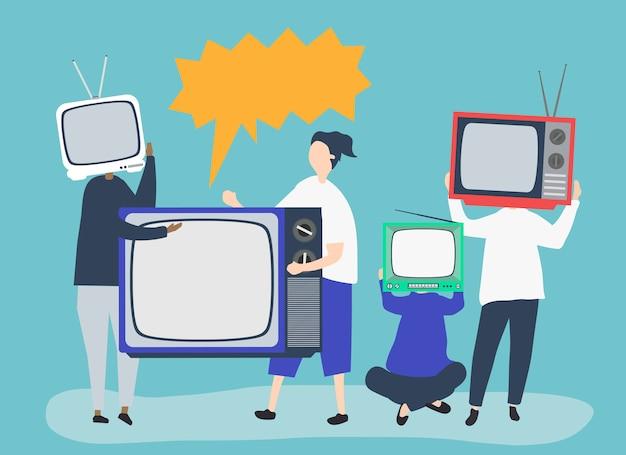 Символьная иллюстрация людей с иконками аналогового тв