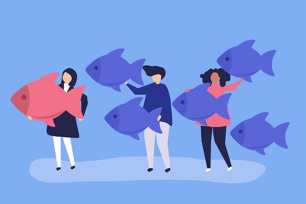 リーダーシップコンセプトで魚のアイコンを運ぶ人々