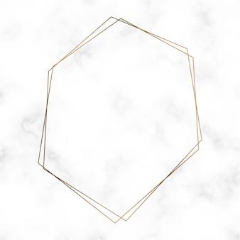 Золотой шаблон рамки с шестиугольником