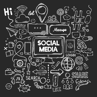 ソーシャルメディアアイコンのベクトルセット