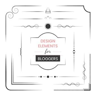 ブロガーベクトルのためのデザイン要素のセット