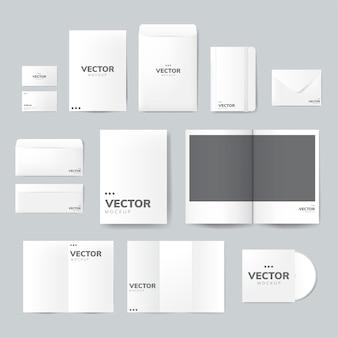 印刷物デザインのモックアップベクトルのセット