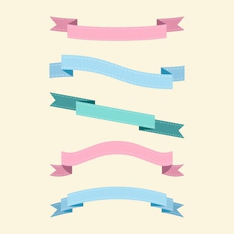 Набор красочных ленточных векторов
