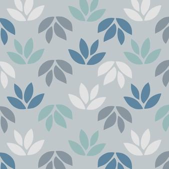 青い背景に葉のシンプルなパターン