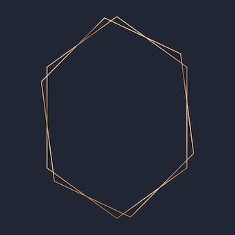 黄金の六角形フレームテンプレートベクトル
