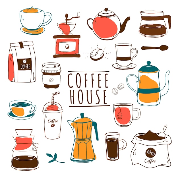 カフェ&コーヒーハウスパターンベクトル