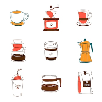 コーヒーショップアイコンベクトルのセット