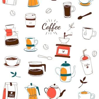 コーヒーハウスとカフェのパターンの背景ベクトル