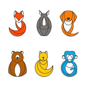 カラフルな動物ベクトルのセット