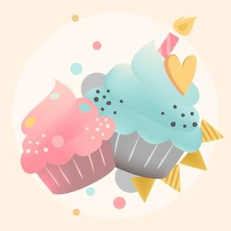 キャンドルとカラフルなカップケーキベクトル
