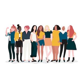 Группа сильных женщин-векторов