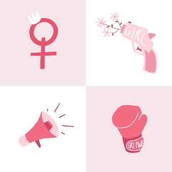 ピンクフェミニストバッジベクトルのセット