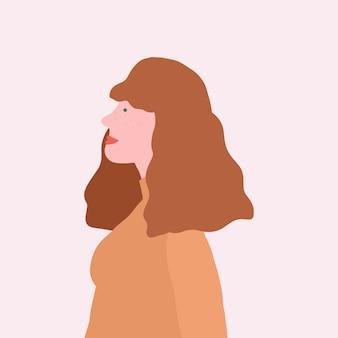 プロファイルベクトルの強い茶色の髪の女性