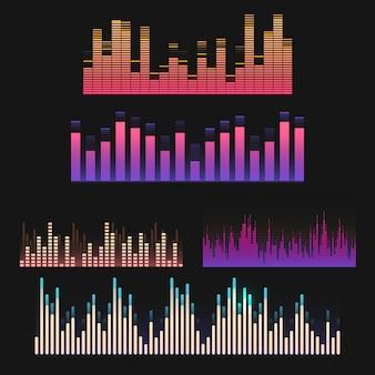 カラフルな音波のイコライザーベクトル設計セット