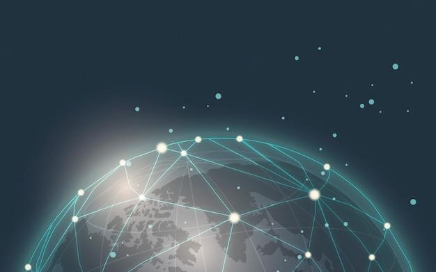 世界的な接続の青い背景イラストベクトル