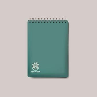 スパイラル緑ノートブックモックアップベクトルを分離