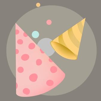 カラフルなパーティー帽子デザインベクトル