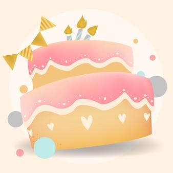 ハッピーバースデーケーキのデザインベクトル