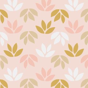 ピンクの背景に葉のシンプルなパターン