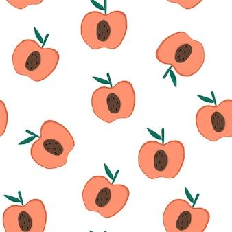 白いシームレスなパターンの背景ベクトルにリンゴ