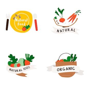 Набор векторных значков натуральных и органических пищевых продуктов