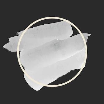 ラウンドグレーの水彩バナーベクトル