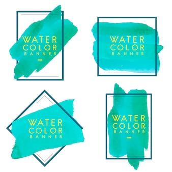 緑色の水彩バナーデザインベクトルのセット